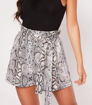 Snake Skin Print Loose Shorts - MaestosoRosso_Fashion_Store