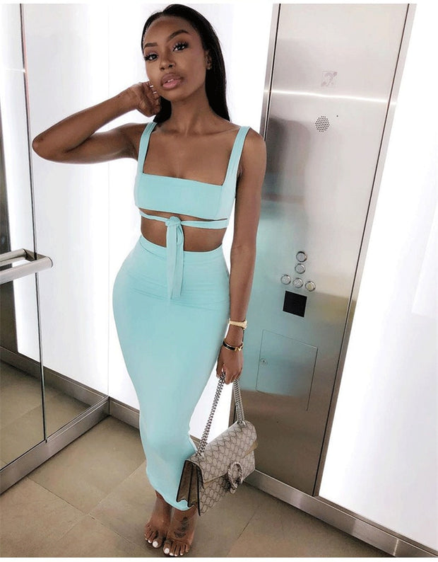 Sexy Two Piece Bodycon Set - MaestosoRosso_Fashion_Store