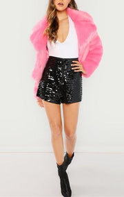 Black Sequin Shorts - MaestosoRosso_Fashion_Store