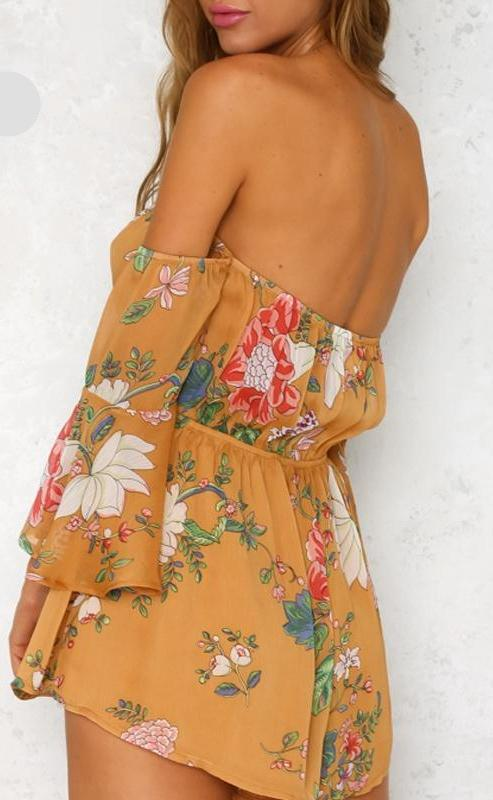 Off Shoulder Feminine Playsuit - MaestosoRosso_Fashion_Store