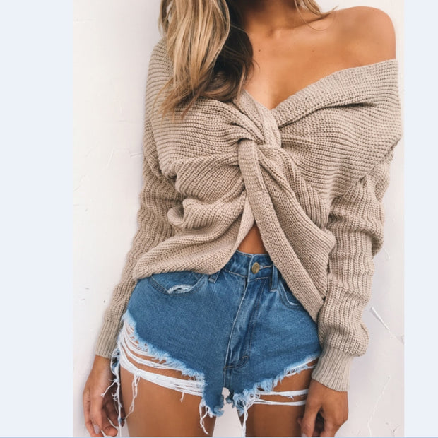 V-Neck Knotted Halter Sweater - MaestosoRosso_Fashion_Store