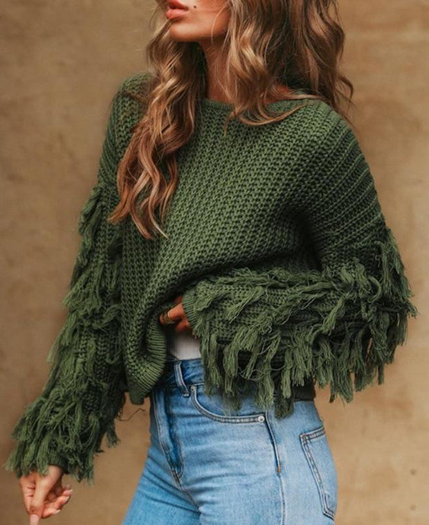 Autumn/Winter Tassel Sleeved Pullover - MaestosoRosso_Fashion_Store
