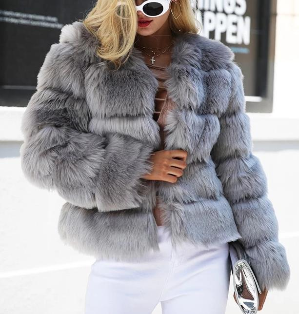 Faux Fur Thick Coat - MaestosoRosso_Fashion_Store