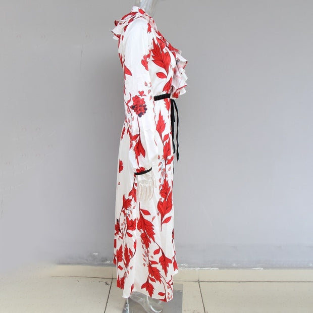 High Split Red&White Ruffle Dress - MaestosoRosso_Fashion_Store