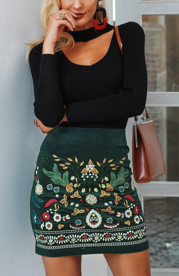 Boho Embroidered Green Skirt - MaestosoRosso_Fashion_Store