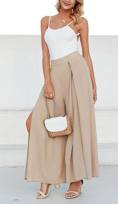 Elegant Wide Leg High Waist Pants - MaestosoRosso_Fashion_Store