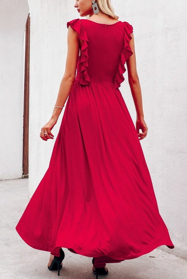 Ruffle Pleated Red Dress - MaestosoRosso_Fashion_Store