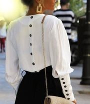Puff Sleeve Back Button Shirt - MaestosoRosso_Fashion_Store