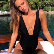 Deep V One Piece Swimsuit (Various Colors) - MaestosoRosso_Fashion_Store