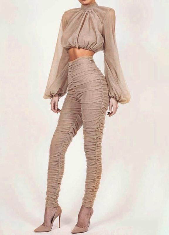 Ruched Apricot Two Piece Set - MaestosoRosso_Fashion_Store