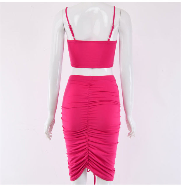 Two Piece Ruched Set - MaestosoRosso_Fashion_Store