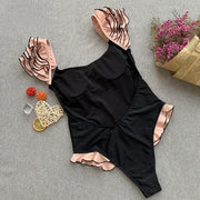 Feminine Ruffle Swimsuit/ Bodysuit - MaestosoRosso_Fashion_Store