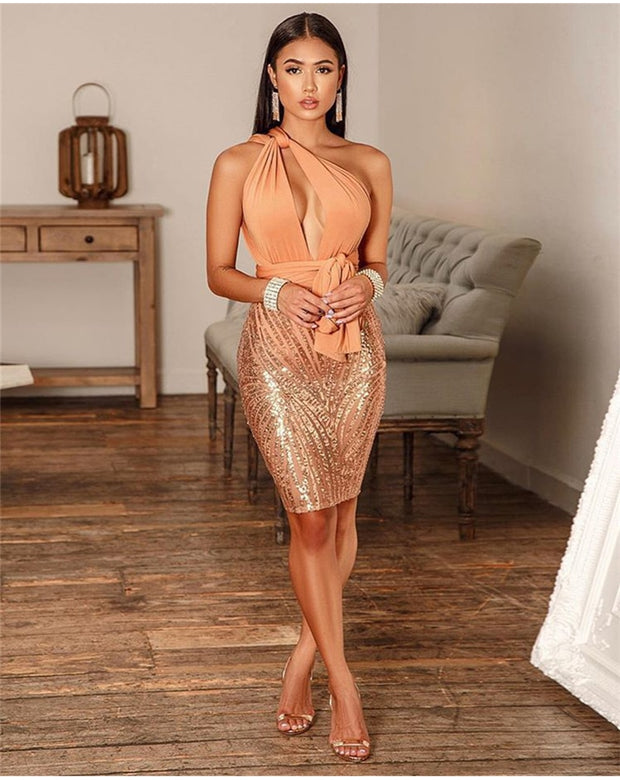 One Shoulder Sequin Dress - MaestosoRosso_Fashion_Store