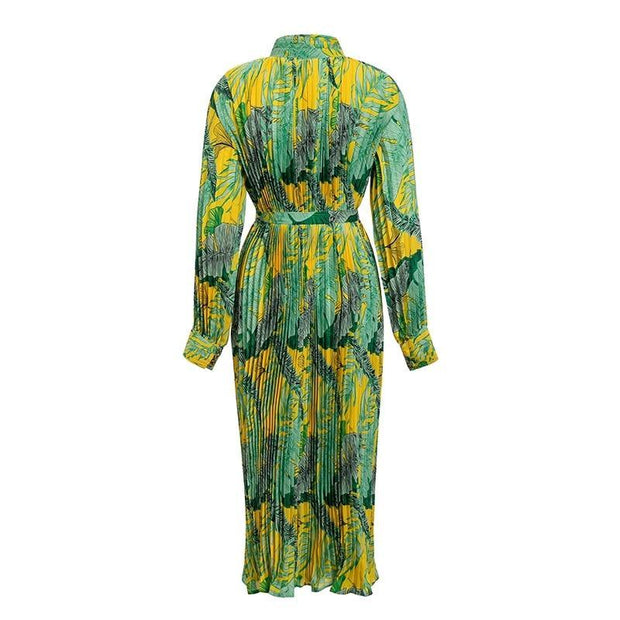Pleated Print Maxi Dress - MaestosoRosso_Fashion_Store