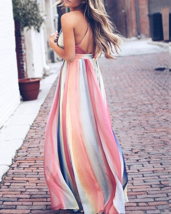 Gradient Stripe Maxi Summer Dress - MaestosoRosso_Fashion_Store