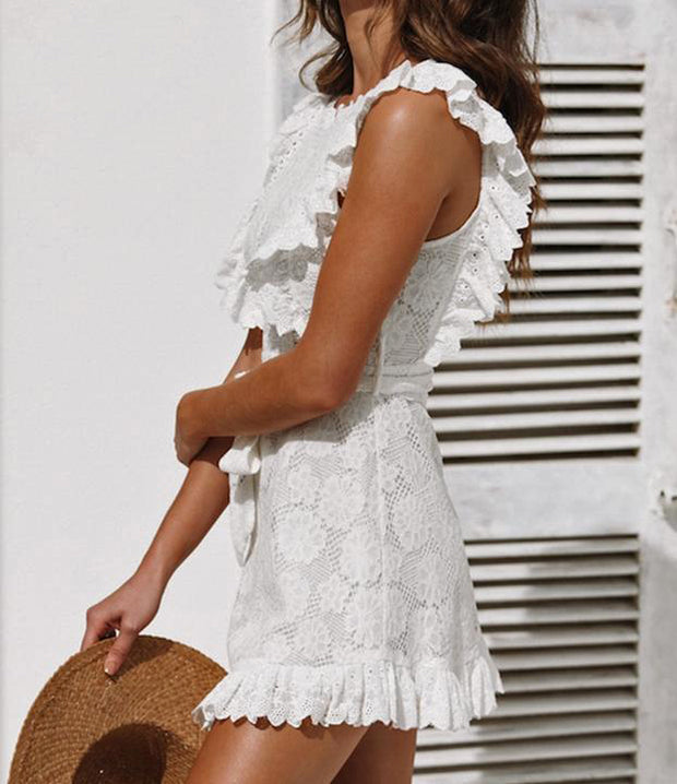 Elegant White Mini Lace Dress - MaestosoRosso_Fashion_Store