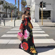 Large Rose Print Off Shoulder Dress - MaestosoRosso_Fashion_Store