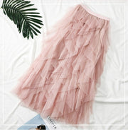 Asymmetrical Vertical Ruffles Long Skirts - MaestosoRosso_Fashion_Store