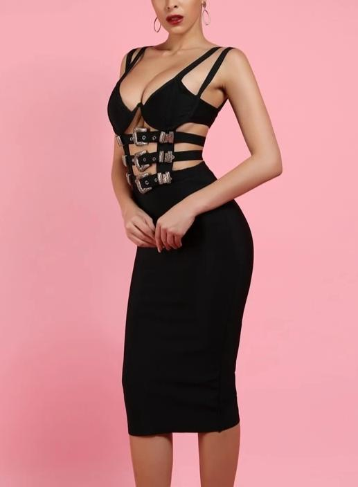 Belt Buckle Bandage Dress - MaestosoRosso_Fashion_Store