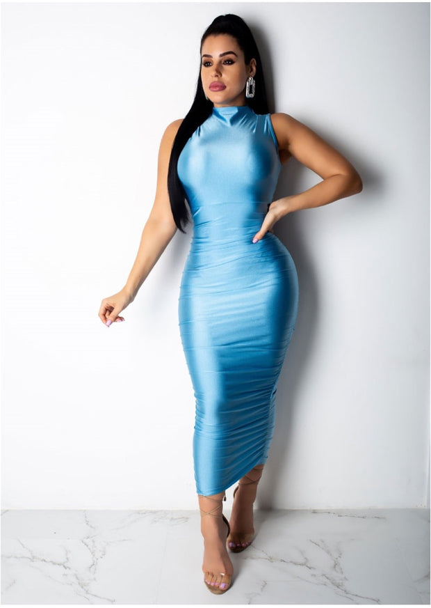 Elastic Satin Bodycon Long Dress - MaestosoRosso_Fashion_Store