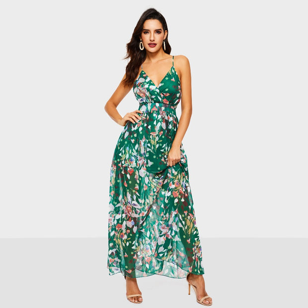 Boho Leaf Print Mid-Calf Dress - MaestosoRosso_Fashion_Store