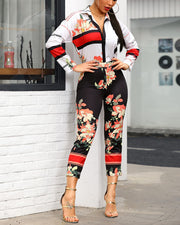 """Red Black White"" Floral Print Jumpsuit - MaestosoRosso_Fashion_Store"