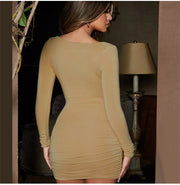 Bust Knot Bodycon Mini Dress - MaestosoRosso_Fashion_Store
