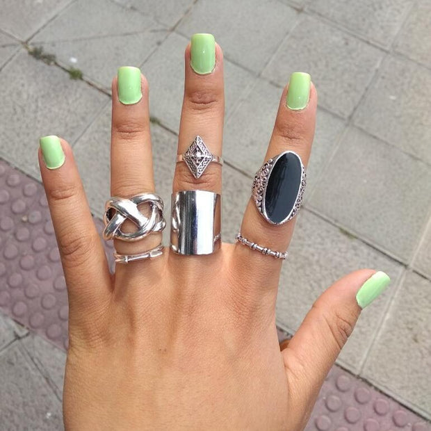 """Black Bohemia"" 5pcs Ring set - MaestosoRosso_Fashion_Store"
