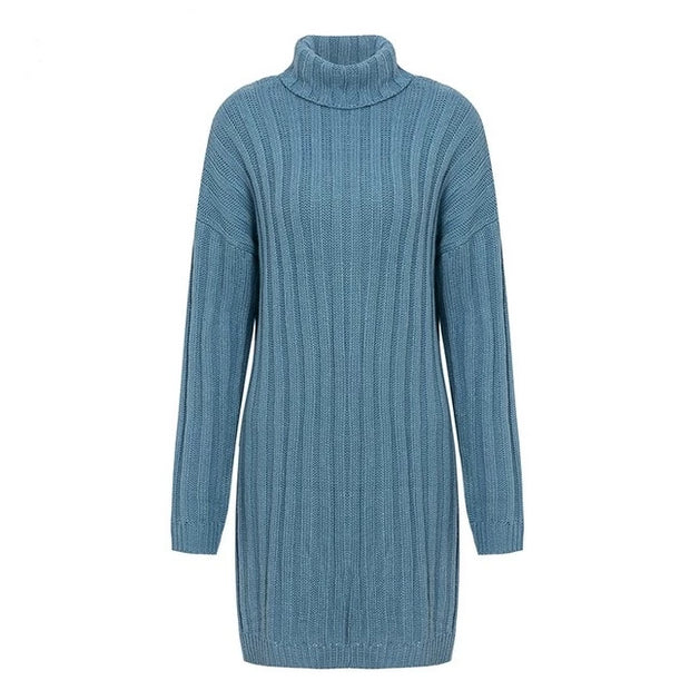 Turtle Neck Knitted Dress - MaestosoRosso_Fashion_Store