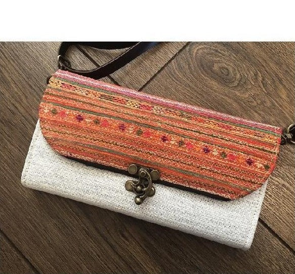 Vintage Hmong Crossbody Clutch