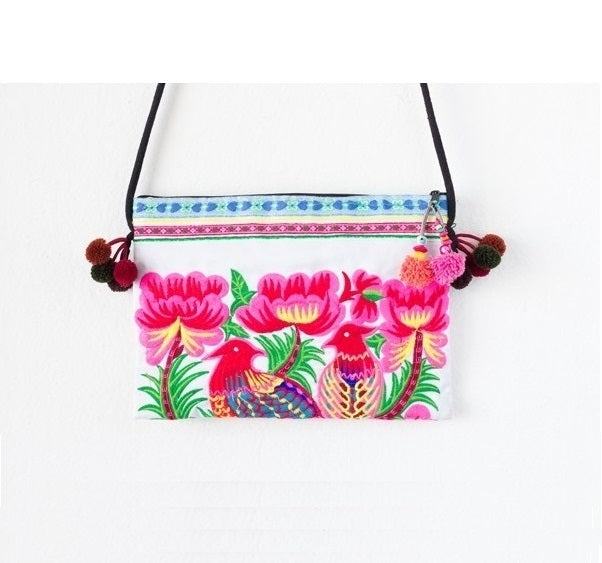 Pink Birds Embroidered Crossbody Purse