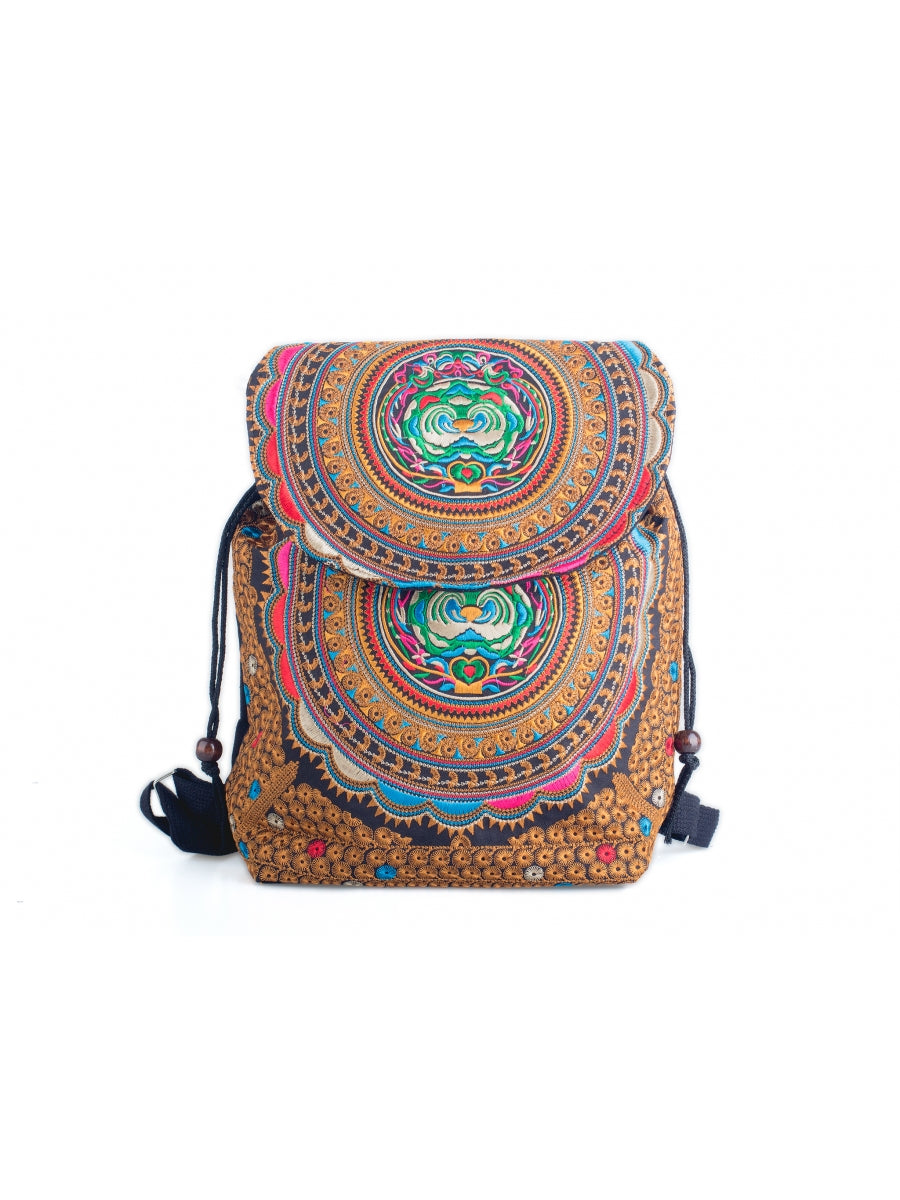 Embroidered Pattern Backpack