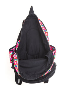 Embroidered White and Pink Floral Backpack