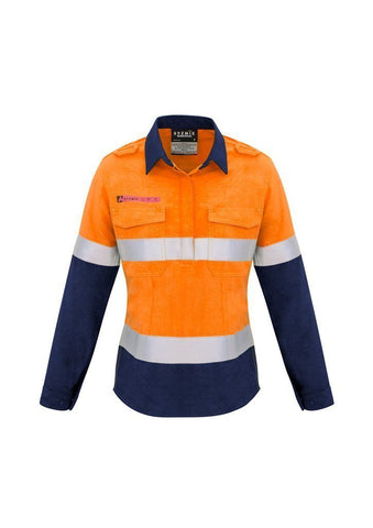 ZW131 Syzmik Womens FR Closed Front Shirt Hi Vis