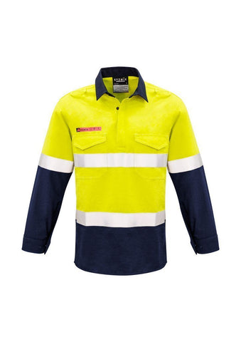 ZW133 Syzmik FR Closed Front Hooped Taped Spliced Shirt Hi Vis
