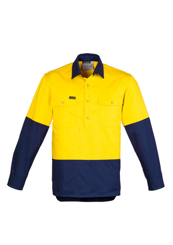 Syzmik ZW560 Closed Front Long Sleeve 100% Cotton Work Shirts | UPF 50, HI Vis Day yellow navy front