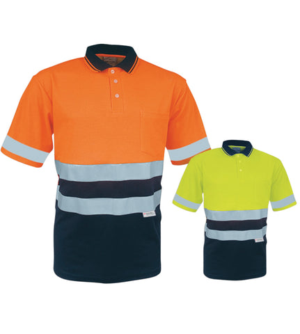 SP1249 Unisex Adults Hi-Vis Polyface / Cotton back Polo With 3M Reflective Tape