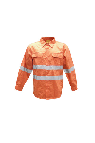 SS1233 Unisex Adults Hi-Vis L/S Cotton Drill Shirt With Reflective Tape