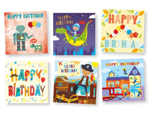 Boys' birthday cards (pack of 18)