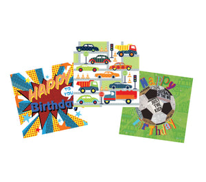 Boys' birthday cards (pack of 15)