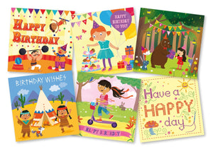 Girls' birthday cards (pack of 18)