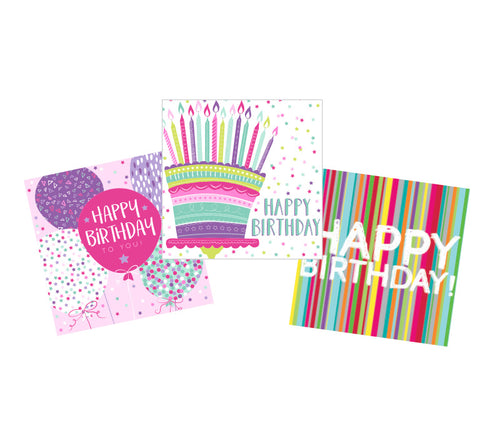 Girls' birthday cards (pack of 15)