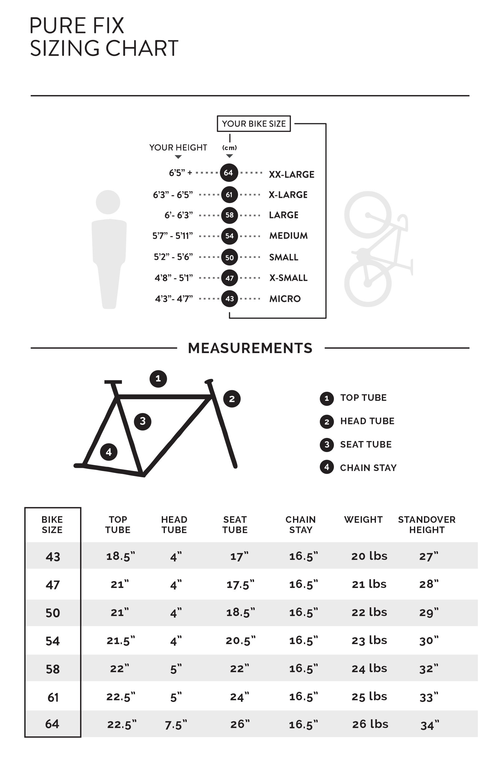 Sizing Chart Pure Cycles