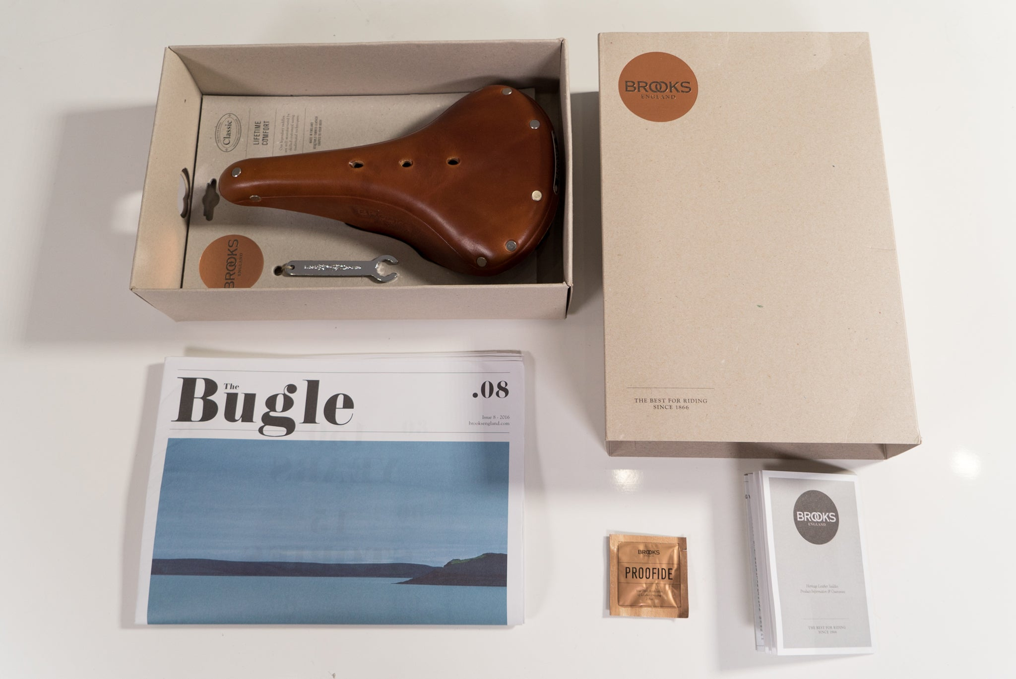f383b79180 When you first open your new saddle and dig past your copy the Bugle,  you'll find a little packet of Proofide secured to the back of the  packaging.