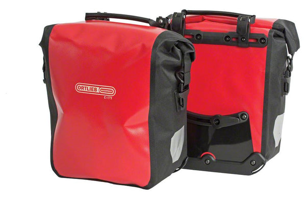 Ortlieb Front-Roller City Front Pannier: Pair~ Red/Black