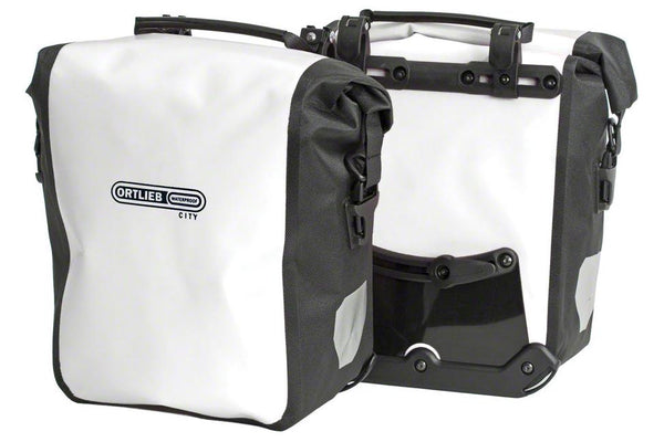 Ortlieb Front-Roller City Front Pannier: Pair~ White/Black