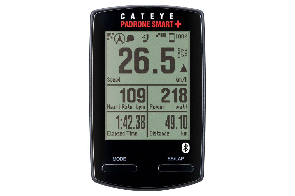 CatEye Padrone Smart + Wireless Cycling Computer with Speed/Cadence Sensor: Black