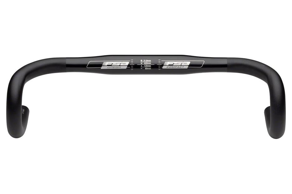 FSA Omega Compact 38cm 31.8 Anatomic Drop Bar Black
