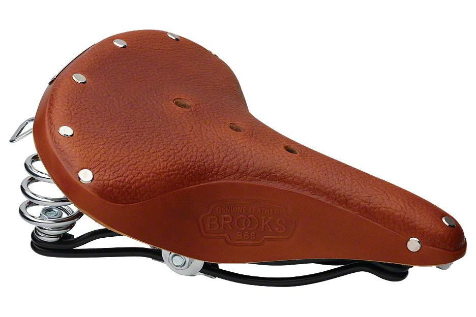 Brooks B66 Men's Saddle Honey with black steel double rails