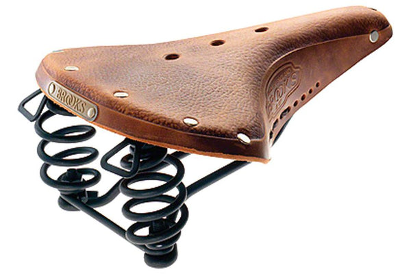 Brooks B67 Men's Saddle Aged Dark Tan with black steel rails and springs